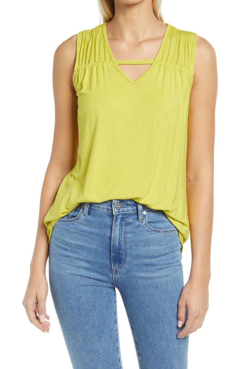 LOVEAPPELLA Solid Gathered Shoulder Cutout Tank, Main, color, CITRON