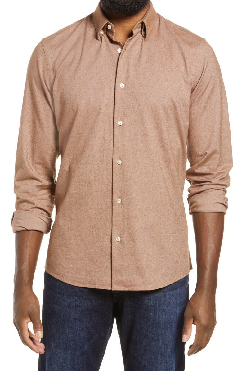 NORDSTROM Oxford Button-Up Performance Shirt, Main, color, PINK - RUST OXFORD