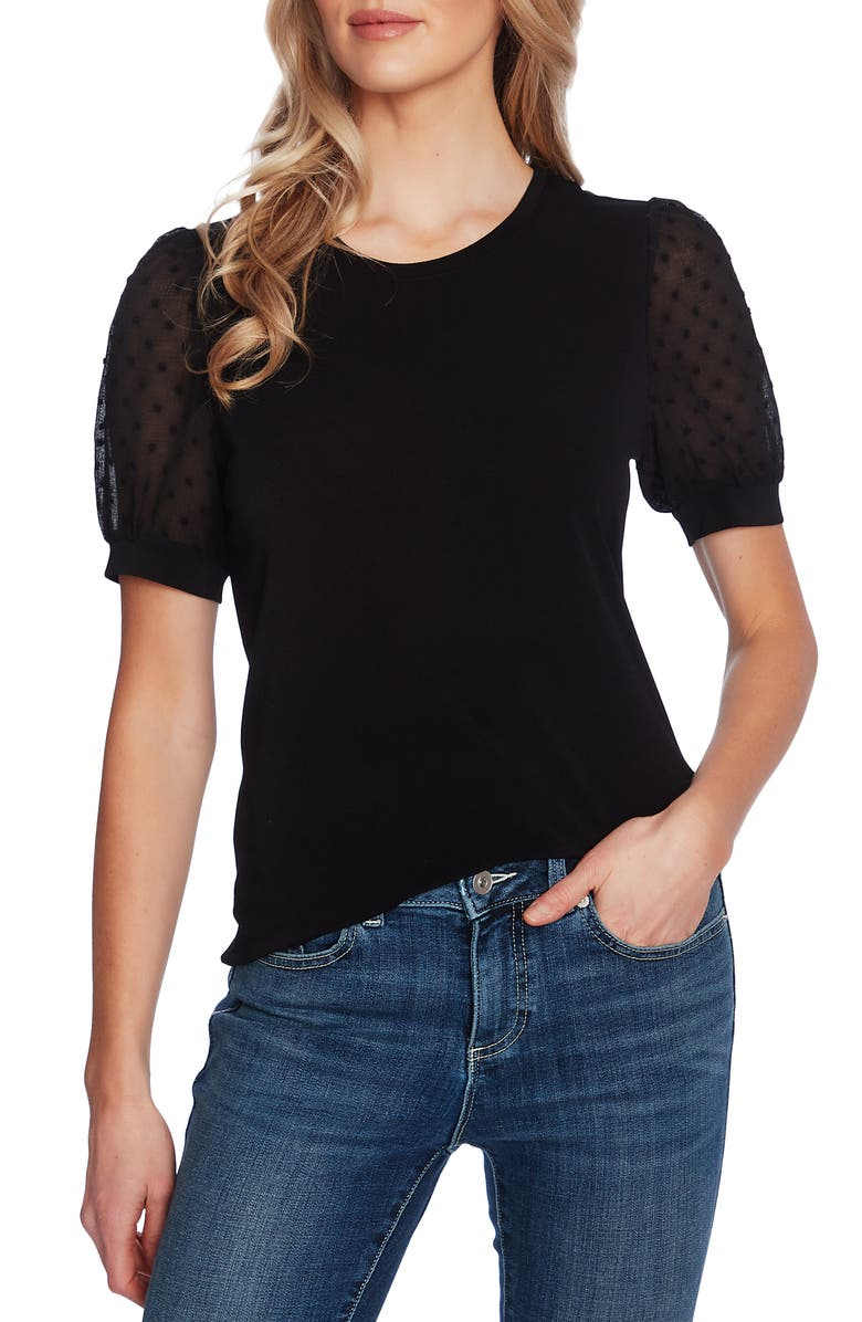 CECE Puff Sleeve Mixed Media Top, Main, color, RICH BLACK
