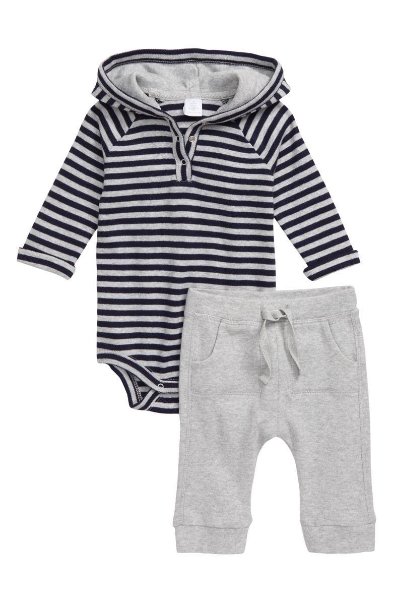 NORDSTROM Stripe Hooded Bodysuit & Sweatpants Set, Main, color, 050