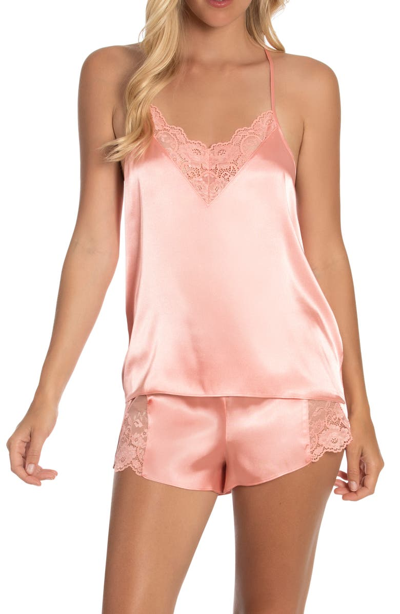 IN BLOOM BY JONQUIL Grace Short Satin Pajamas, Main, color, SOFT CORAL