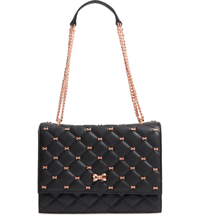 TED BAKER LONDON Bow Quilted Leather Shoulder Bag, Main, color, 001