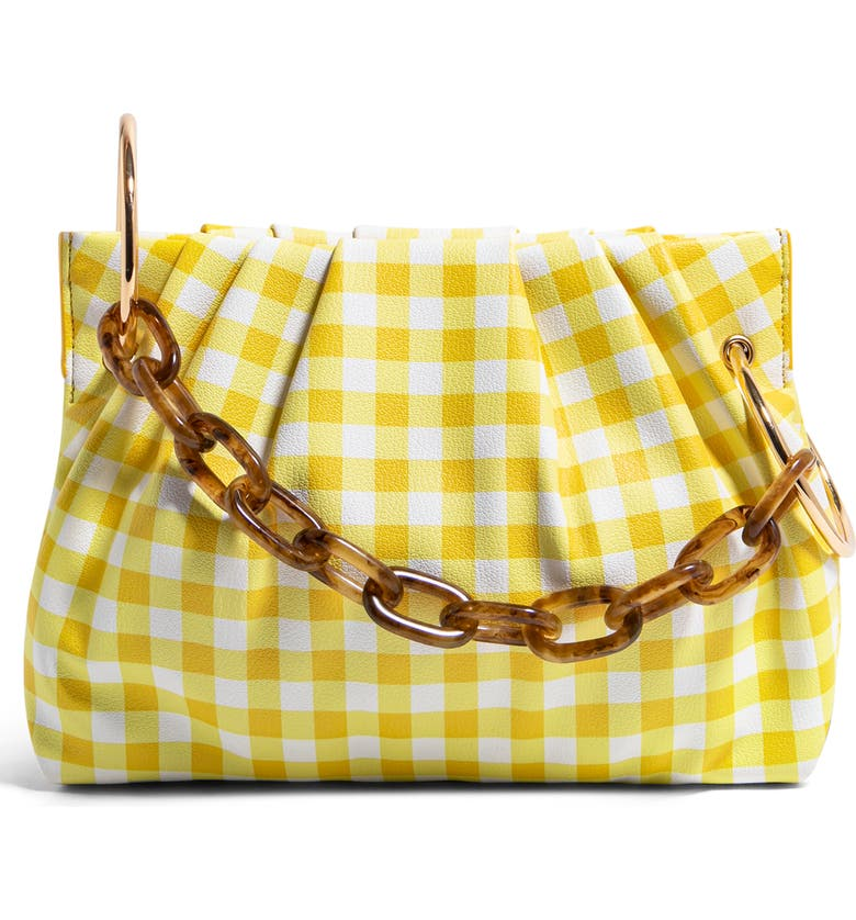 HOUSE OF WANT Chill Vegan Leather Frame Clutch, Main, color, YELLOW GINGHAM