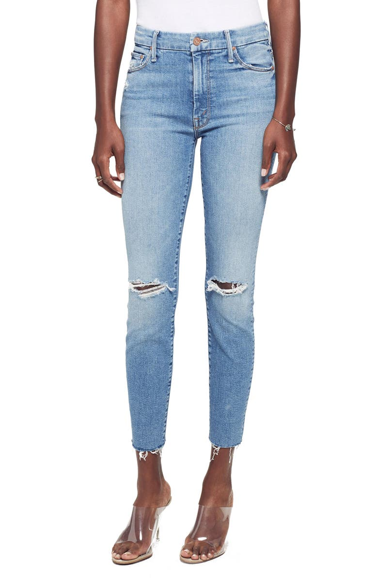 MOTHER Looker Ripped High Waist Fray Ankle Skinny Jeans, Main, color, 450