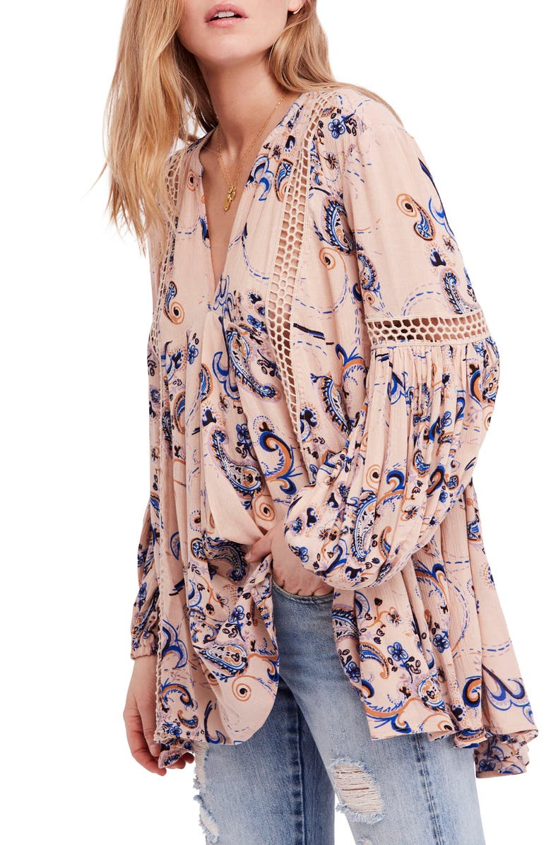 FREE PEOPLE Just the Two of Us Floral Tunic, Main, color, MAUVE