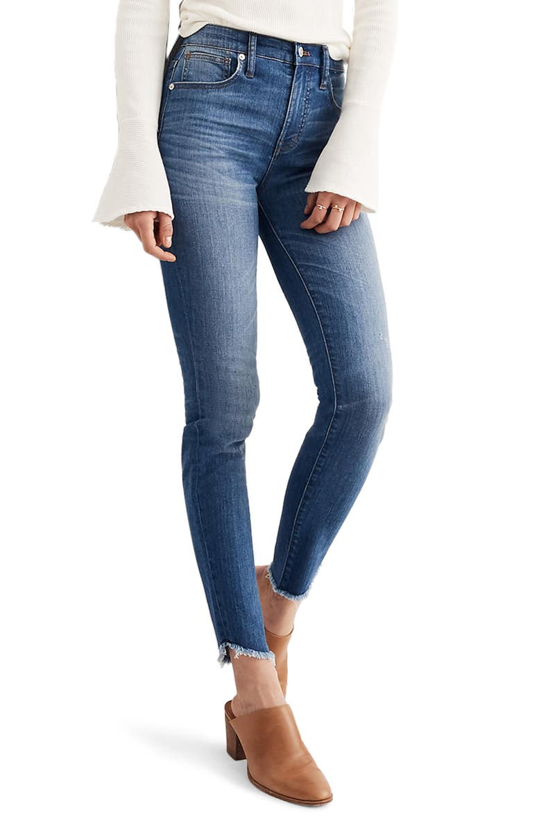 MADEWELL 10-Inch High-Rise Tulip-Hem Skinny Jeans, Main, color, SOMERSET