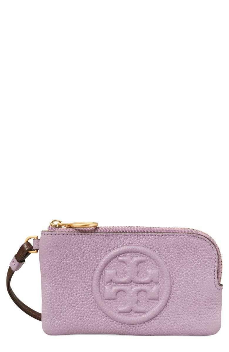 TORY BURCH Perry Colorblock Leather Card Case, Main, color, ALLIUM