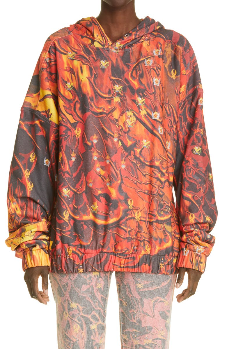 LIBERAL YOUTH MINISTRY Unisex Fire Print Hoodie, Main, color, FIRE PRINT / ORANGE - YELLOW
