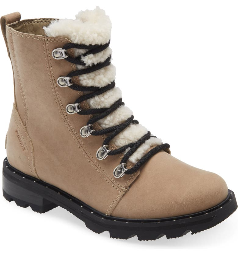 SOREL Lennox Lace-Up Boot with Genuine Shearling Trim, Main, color, NATURE SANDY TAN