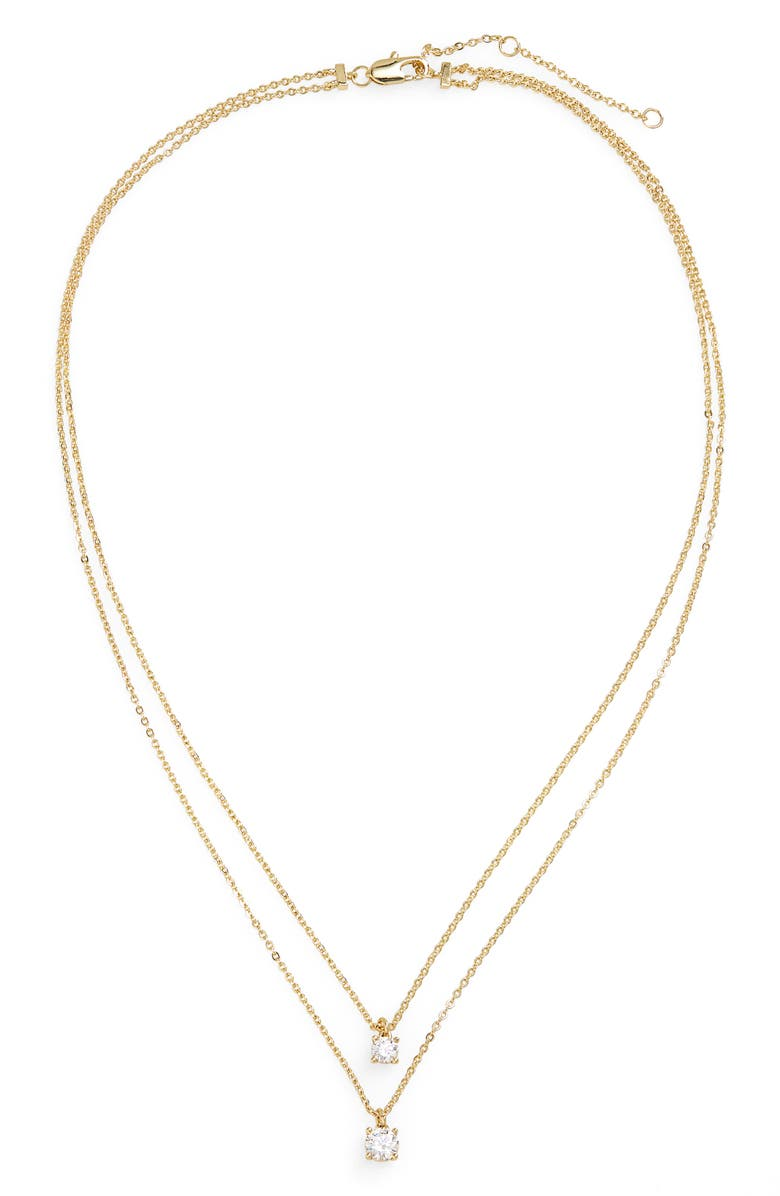 NORDSTROM Cubic Zirconia Layered Necklace, Main, color, CLEAR- GOLD