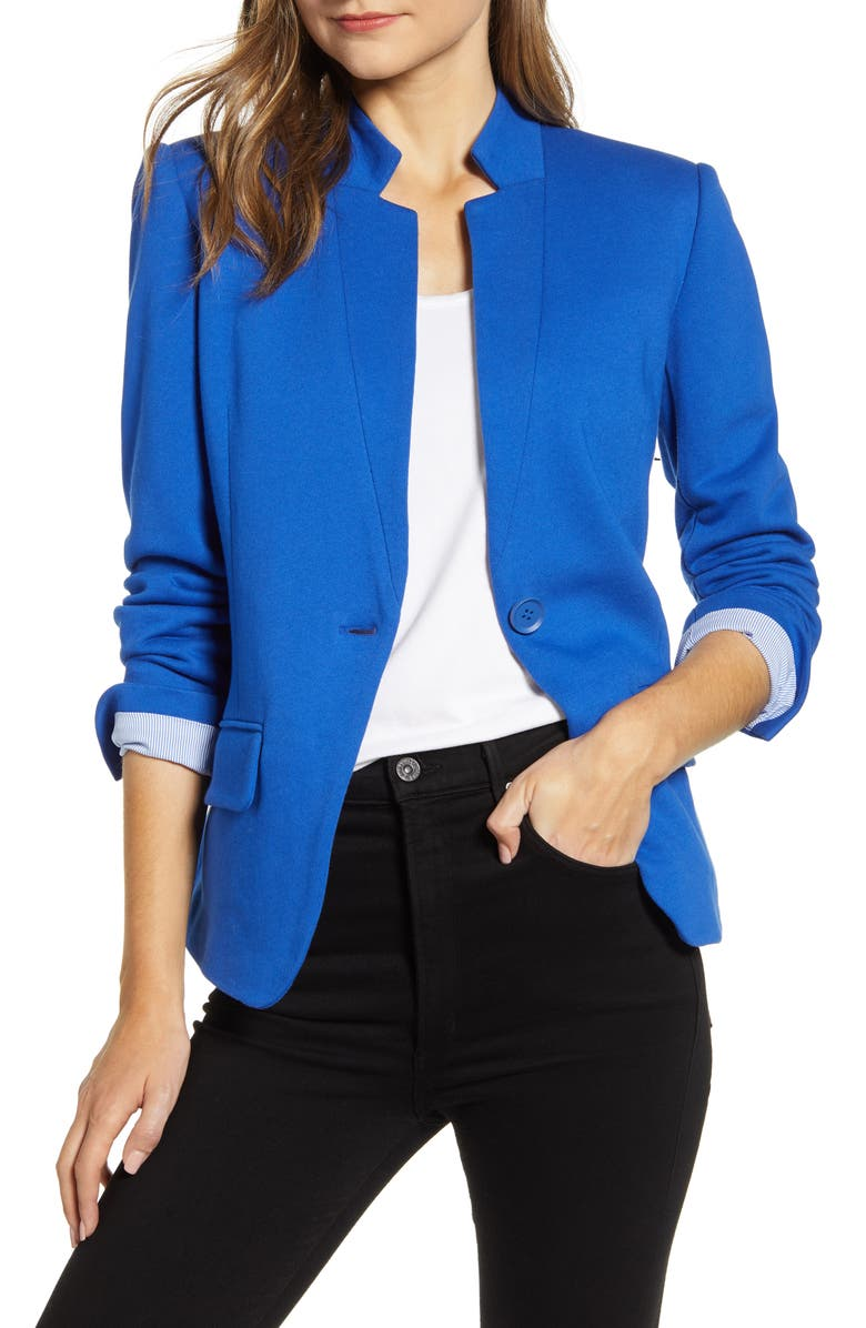 GIBSONLOOK Notch Collar Cotton Blend Blazer, Main, color, 430