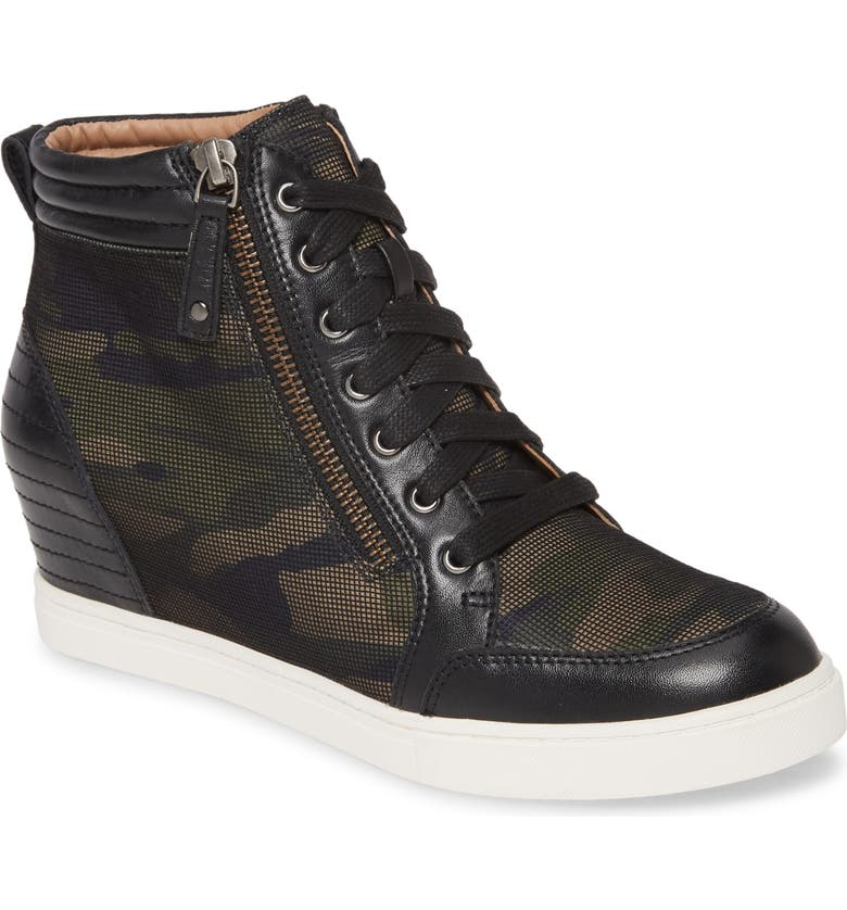 LINEA PAOLO Niya Wedge Sneaker, Main, color, BLACK/ CAMO LEATHER