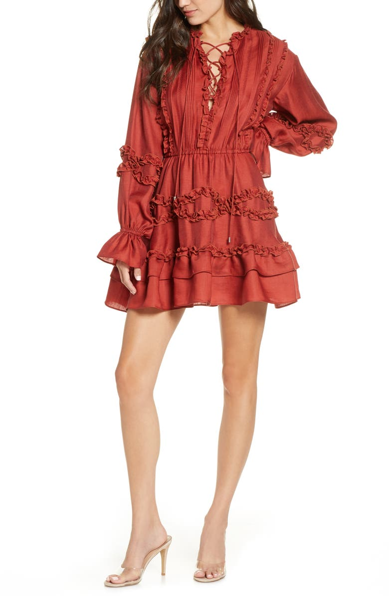 C/MEO COLLECTIVE Slow Down Long Sleeve Ruffle Minidress, Main, color, 620