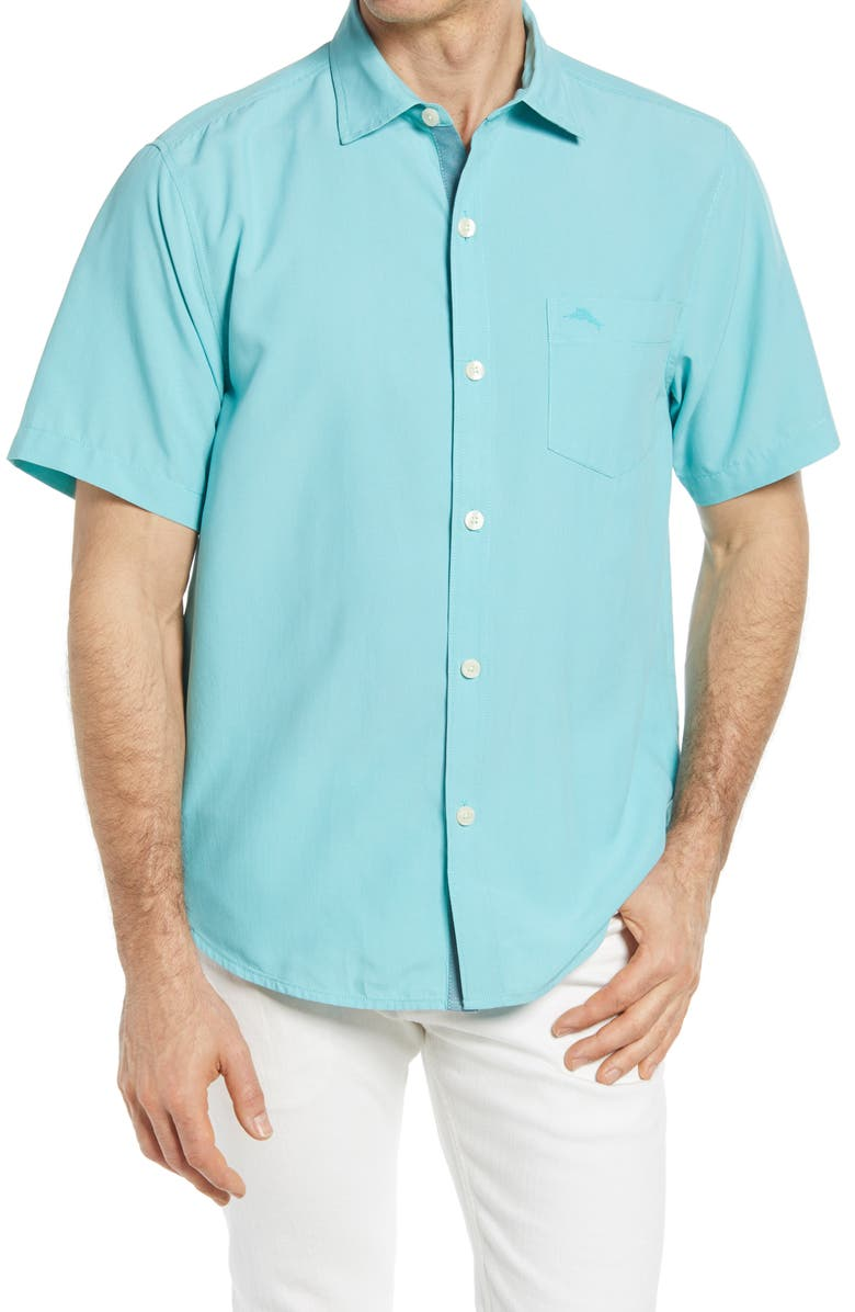 TOMMY BAHAMA Coconut Point Short Sleeve Button-Up Shirt, Main, color, CASTAWAY GREEN