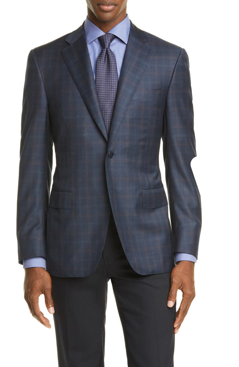CANALI Sienna Soft Classic Fit Plaid Wool Sport Coat, Main, color, 410