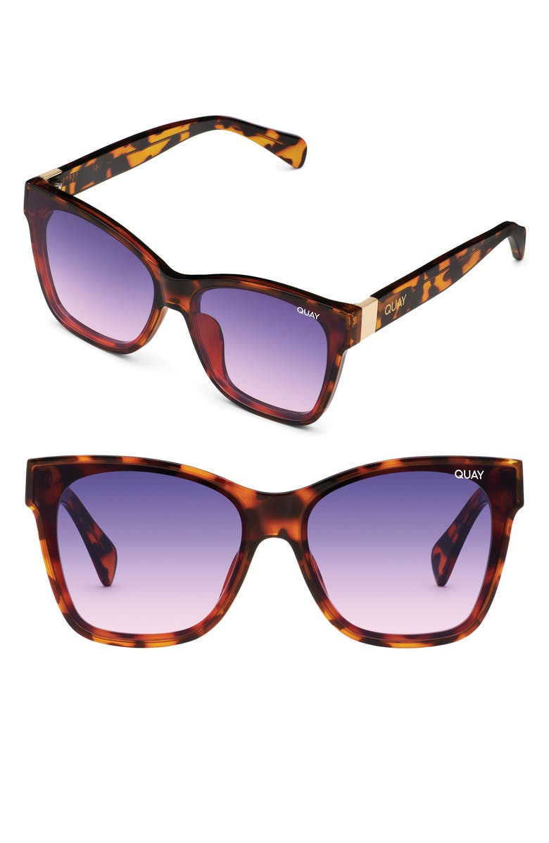 QUAY AUSTRALIA x Lizzo After Party 57mm Square Sunglasses, Main, color, TORT/ PINK