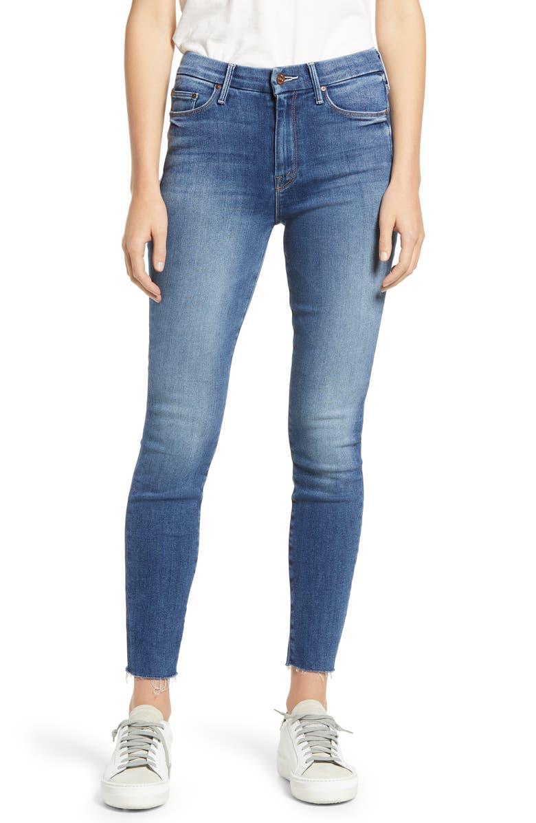 MOTHER The Looker Fray Hem Ankle Skinny Jeans, Main, color, SATISFACTION GUARENTEED