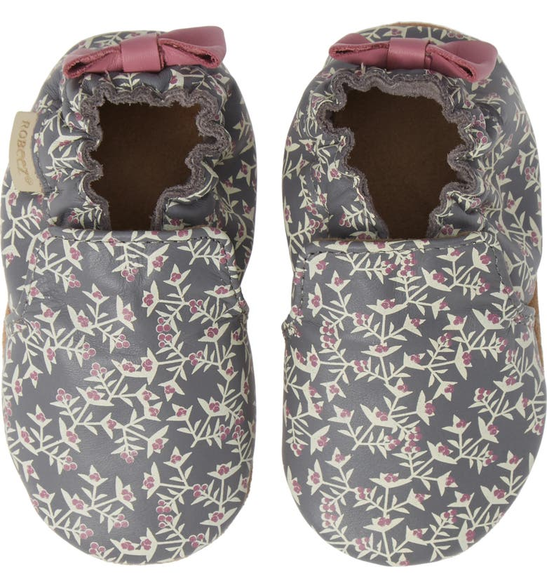 ROBEEZ<SUP>®</SUP> Berry Beautiful Moccasin Crib Shoe, Main, color, 020