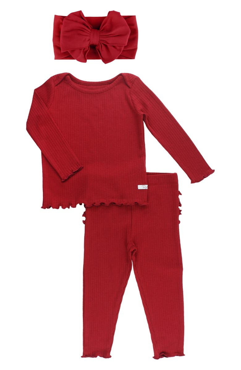 RUFFLEBUTTS Cranberry Fitted Two-Piece Pajamas & Head Wrap Set, Main, color, 600
