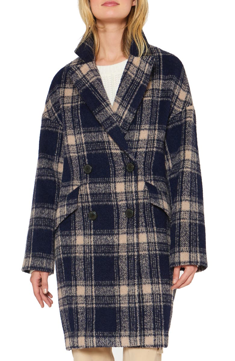 SANCTUARY Plaid Double Breasted Coat, Main, color, NAVY PLAID