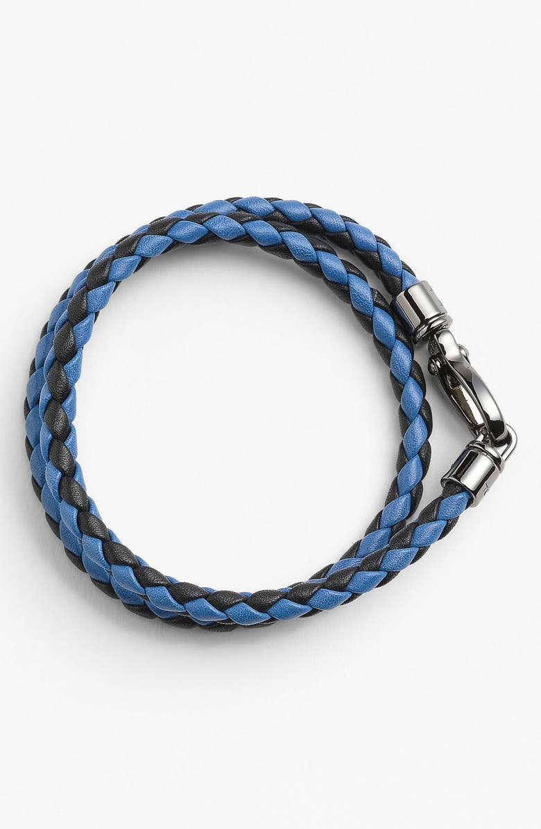 TOD'S Braided Leather Bracelet, Main, color, 016