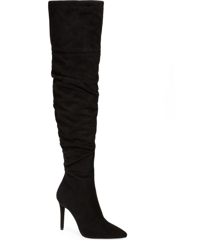 JESSICA SIMPSON Lyrelle Pointy Toe Slouchy Knee High Boot, Main, color, BLACK FAUX LEATHER