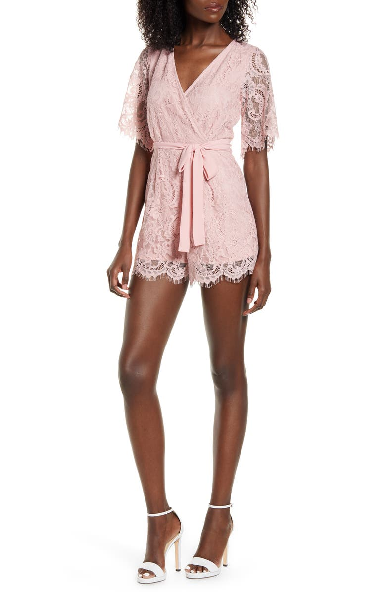 ROW A Short Sleeve Lace Romper, Main, color, BLUSH