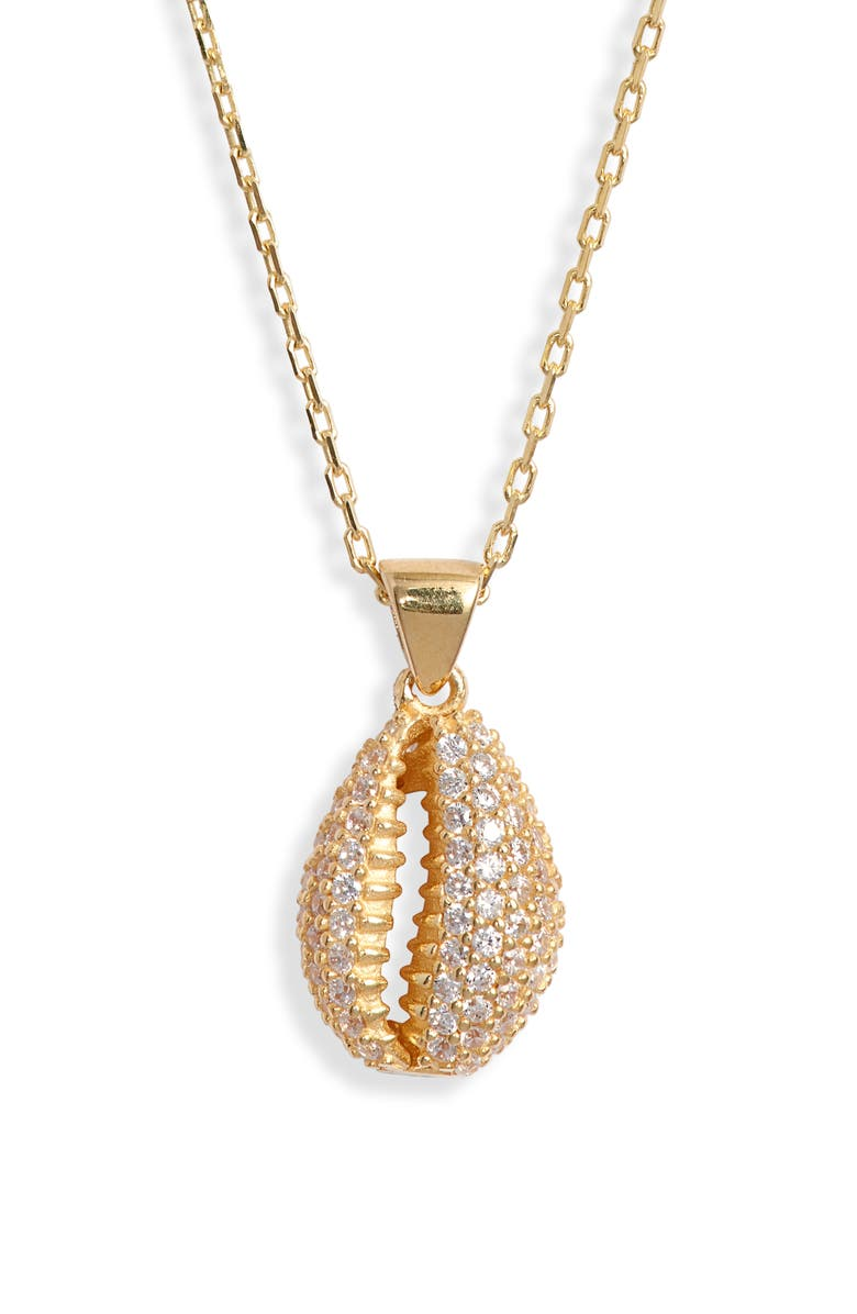 ADINA'S JEWELS Adina's Jewels Pavé Shell Necklace, Main, color, 710