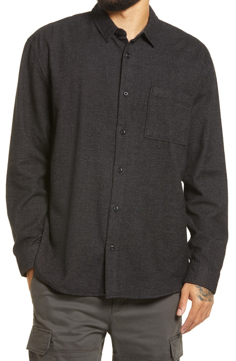 BP. Solid Flannel Button-Up Shirt, Main, color, BLACK CAVIAR - GREY GRINDLE