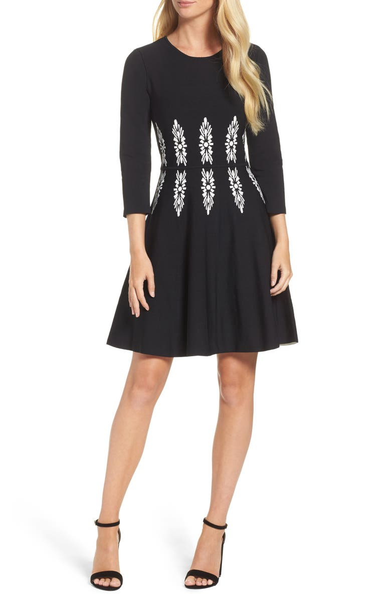ELIZA J Three-Quarter Sleeve Fit & Flare Dress, Main, color, 012