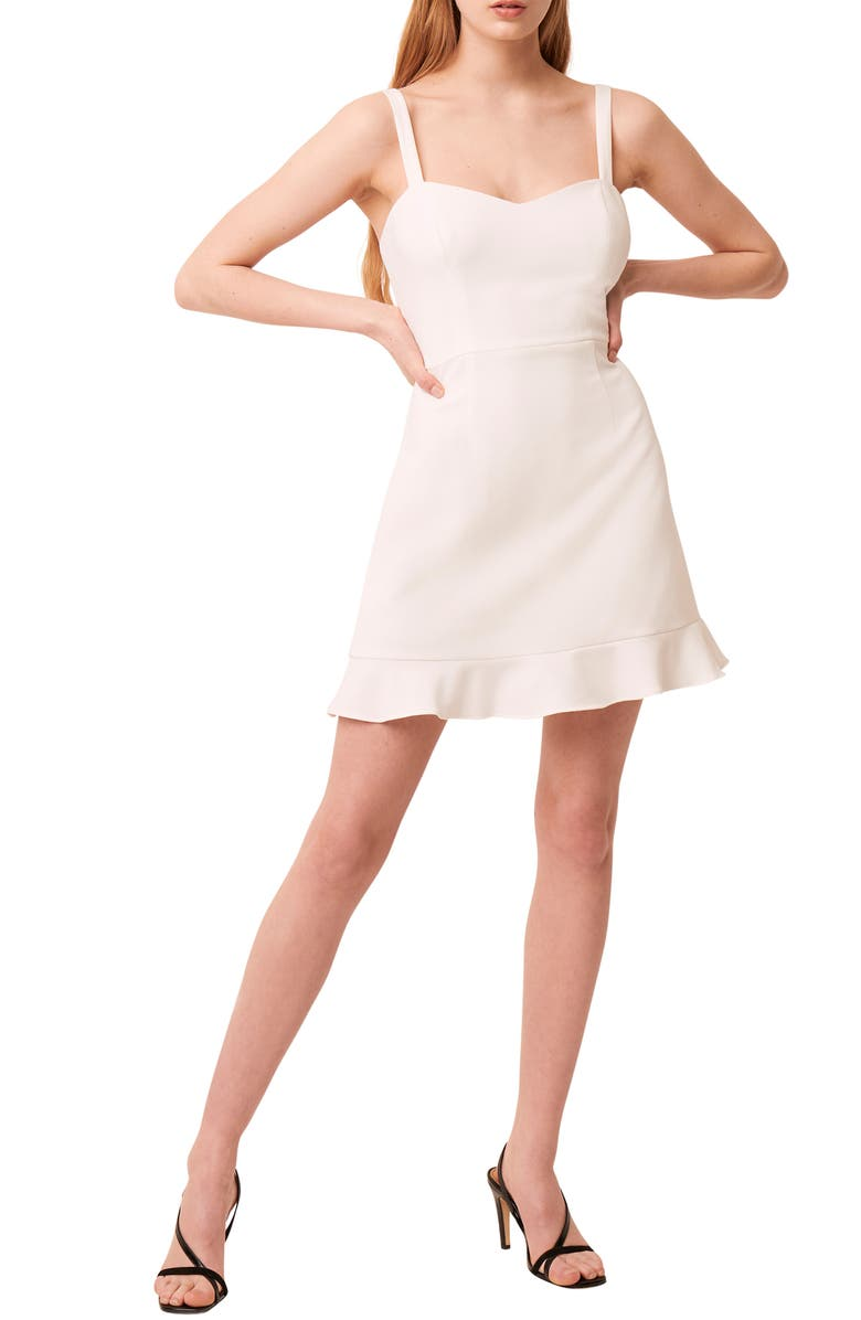 FRENCH CONNECTION Whisper Ruffle Hem Sleeveless Fit & Flare Dress, Main, color, SUMMER WHITE