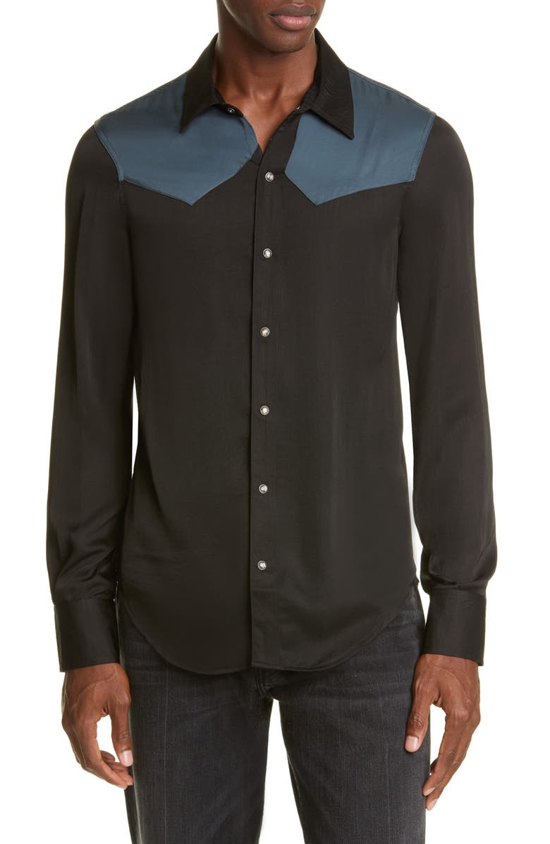 BILLY LOS ANGELES Western Snap-Front Shirt, Main, color, 001