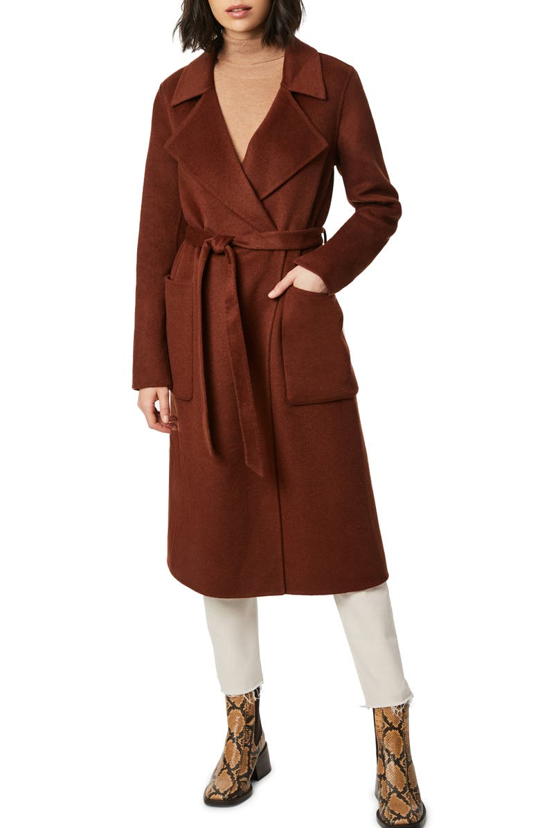 BERNARDO Belted Double Face Wool Blend Wrap Coat, Main, color, RICH TOFFEE
