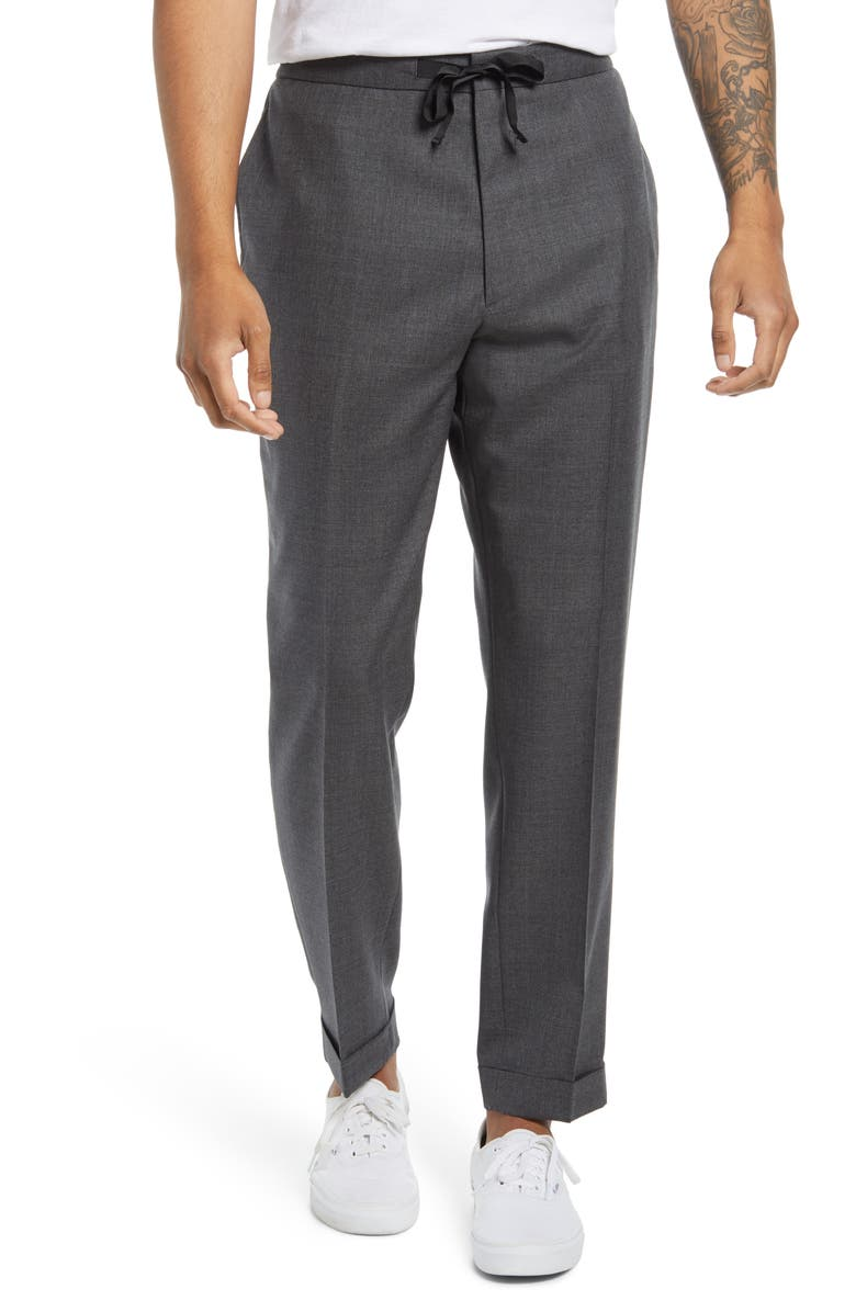 OFFICINE GÉNÉRALE Joseph Pleated Fresco Wool Drawstring Pants, Main, color, MID GREY