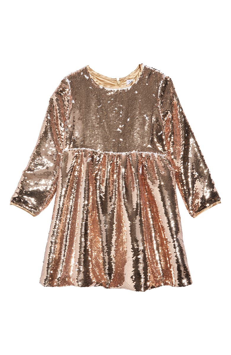 LOLA & THE BOYS Rose Gold Party Dress, Main, color, 710