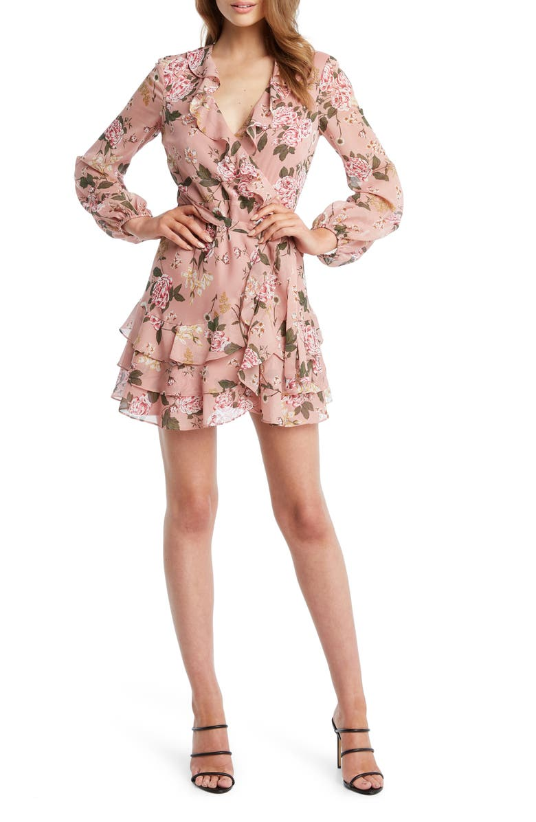 BARDOT Frill Faux Wrap Minidress, Main, color, SOFT PINK FLORAL