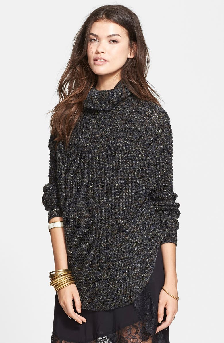FREE PEOPLE Turtleneck Pullover, Main, color, CHARCOAL COMBO