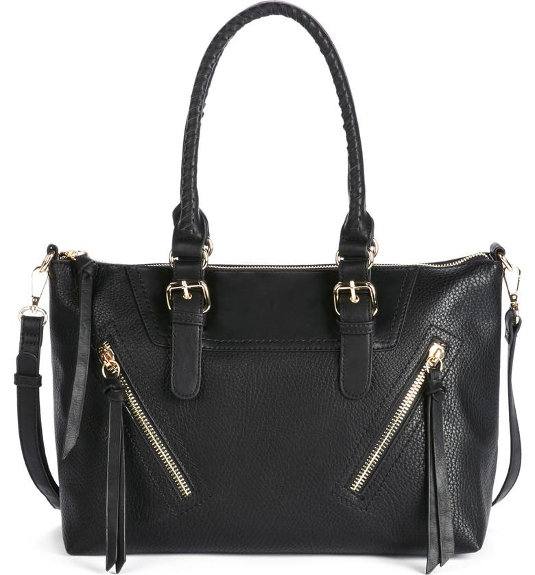 SOLE SOCIETY 'Girard' Zip Detail Satchel, Main, color, 001