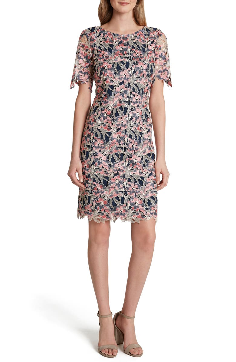 TAHARI Scalloped Lace Cocktail Dress, Main, color, BEIGE CORAL NAVY