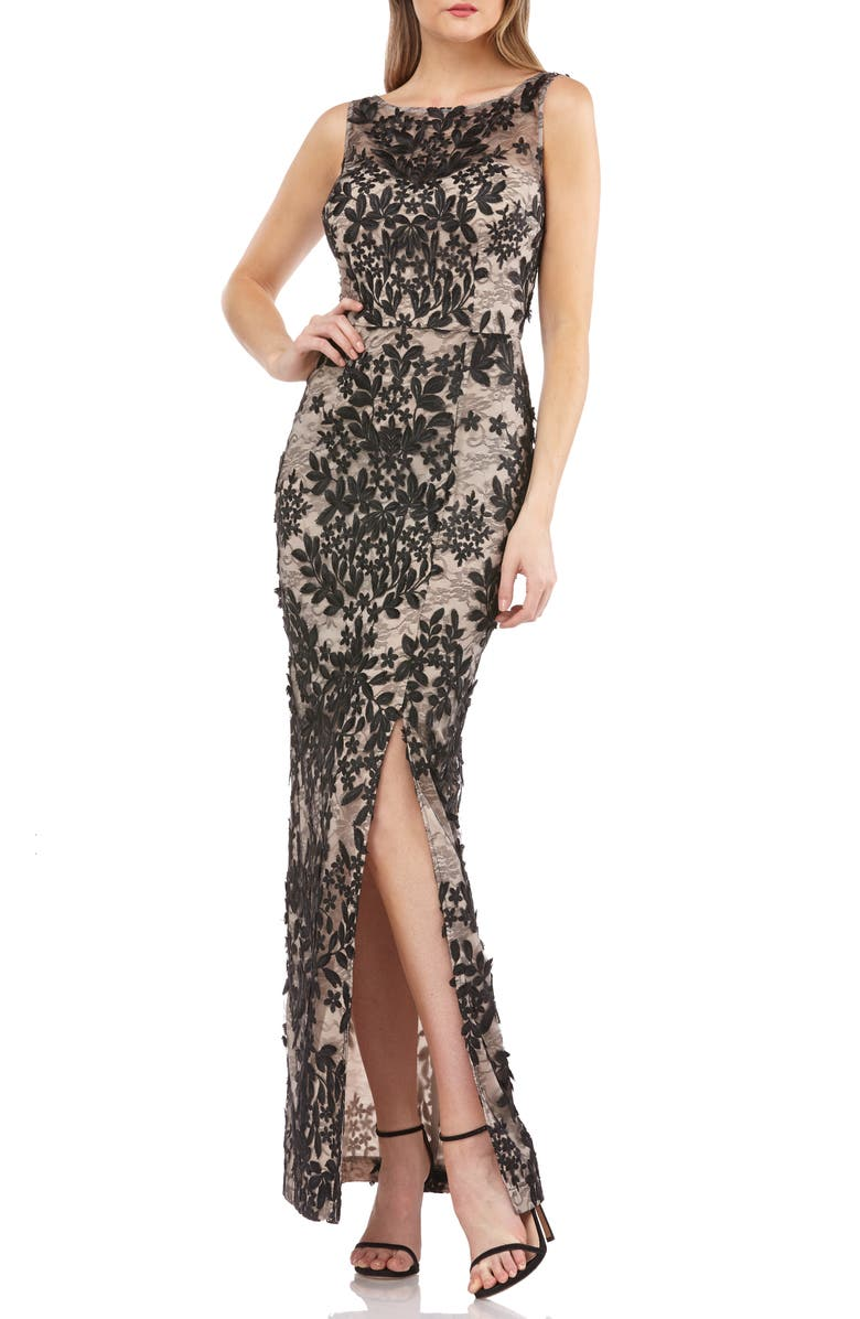 JS COLLECTIONS Leaf Embroidered Gown, Main, color, 250