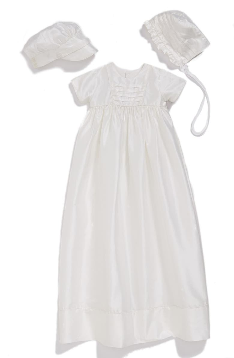 LITTLE THINGS MEAN A LOT Dupioni Christening Gown with Hat and Bonnet Set, Main, color, WHITE