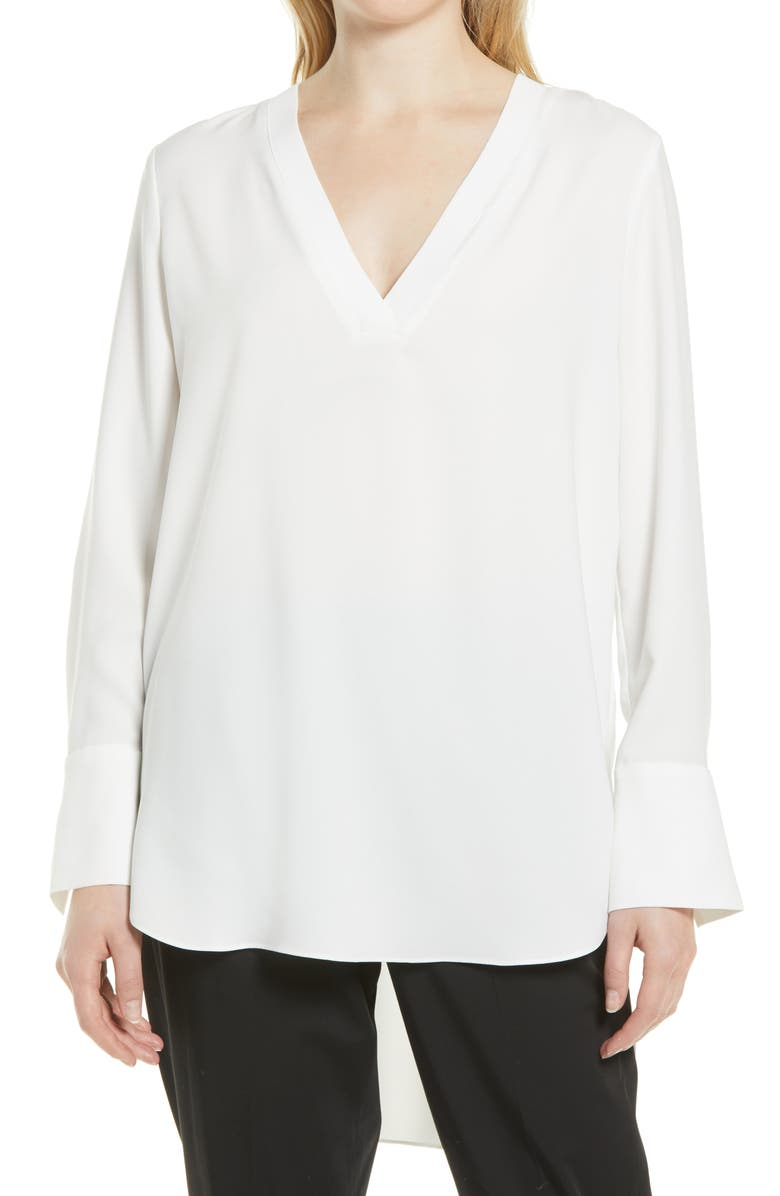NORDSTROM Rib Trim Woven Top, Main, color, IVORY CLOUD