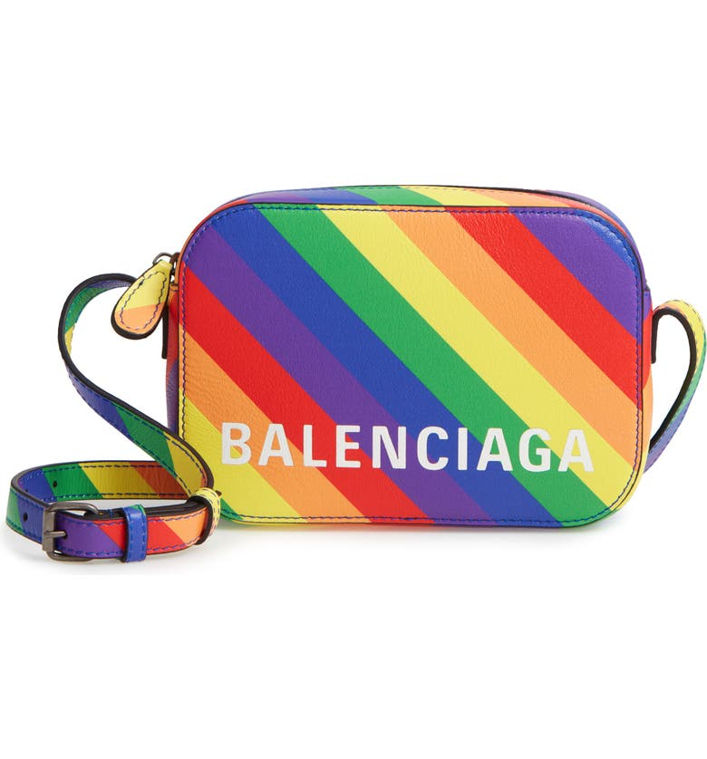 BALENCIAGA LGBTQIA+ Pride Rainbow Leather Crossbody Camera Case, Main, color, 100