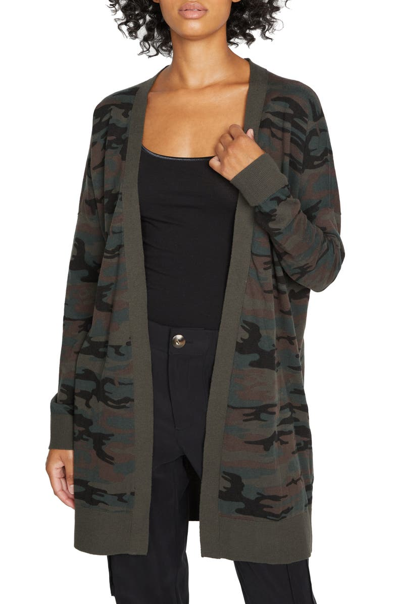 SANCTUARY Play Open Front Cardigan, Main, color, FOREST CAMO