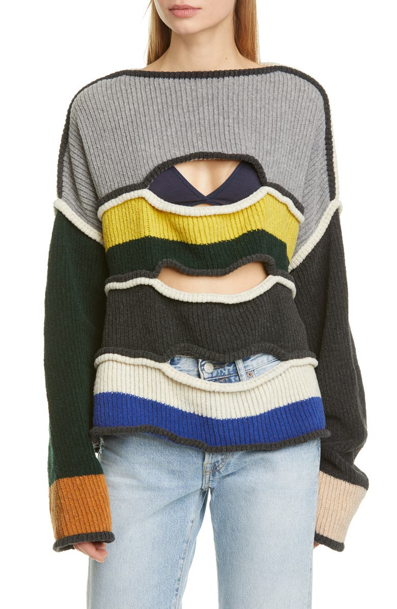 ECKHAUS LATTA Cutout Merino Wool Blend Sweater, Main, color, 900