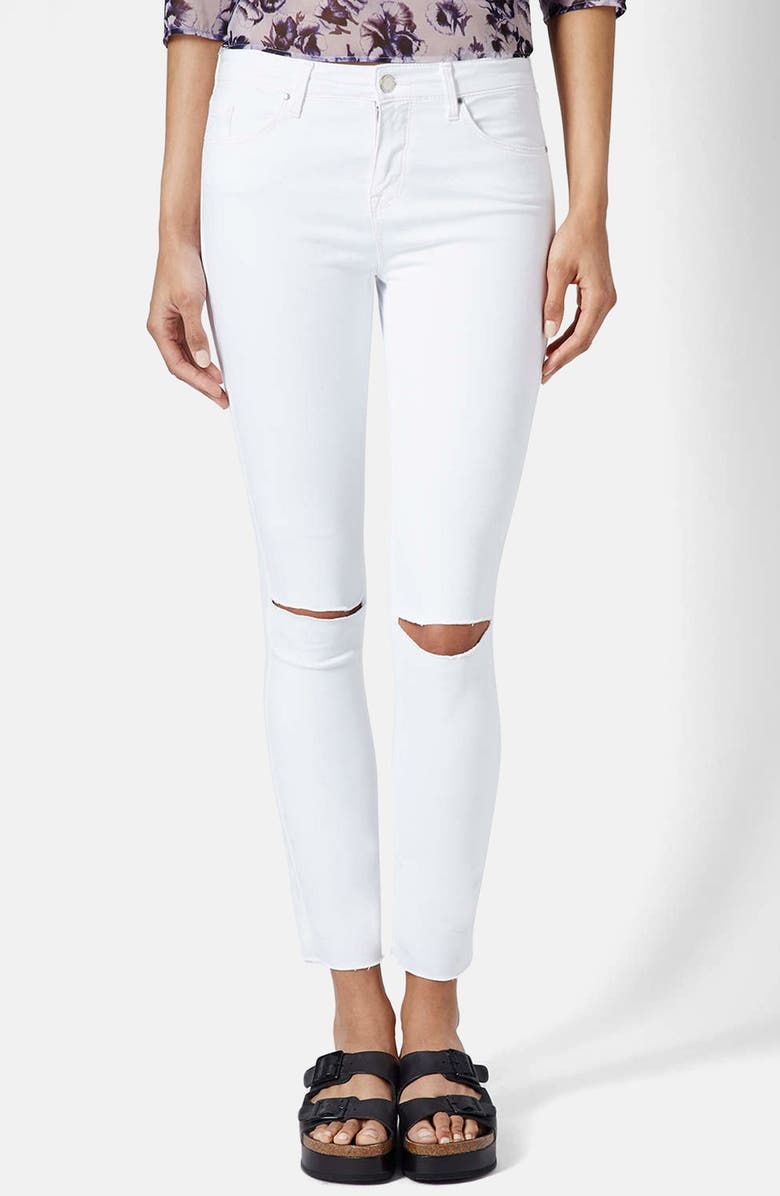 TOPSHOP Moto 'Leigh' Ripped Ankle Skinny Jeans, Main, color, White