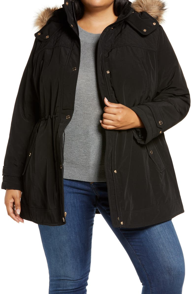 GALLERY Hooded Coat with Removable Faux Fur Trim, Main, color, BLACK