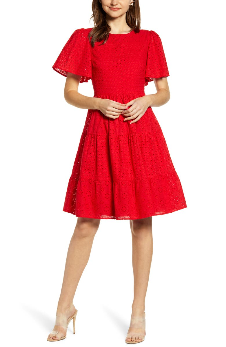 RACHEL PARCELL Mixed Eyelet A-Line Dress, Main, color, RED CHINOISE