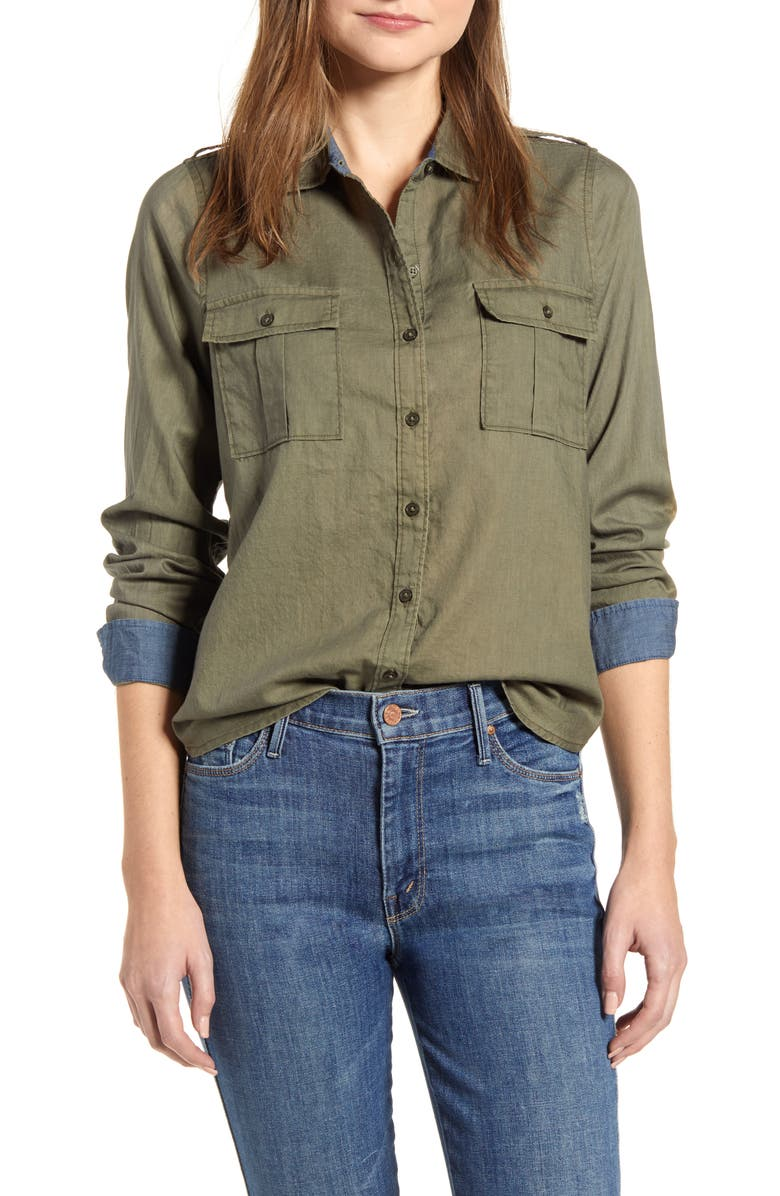 LUCKY BRAND Laura Cotton Twill Utility Shirt, Main, color, 300