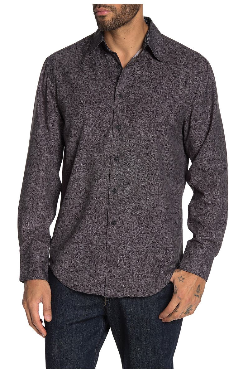 CONSTRUCT Slim Fit Abstract Print 4 Way Stretch Long Sleeve Shirt, Main, color, BLACK